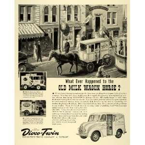 1941 Ad Divco Twin Truck Dairy Bordens Horse Drawn Milk Delivery Wagon
