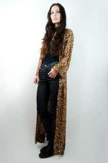 Vtg 70s Copper METALLIC Sequin Silk Semi Sheer GYPSY Draped Maxi Dress