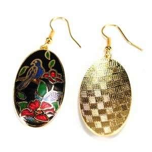 GOLD PLATED CLOISONNE EARRINGS Blue Bird & Flower Black Enamel Pair