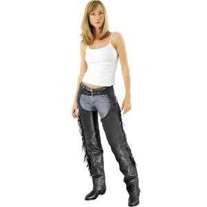 River Road Womens Interstate Fringed Chaps   10/Black Automotive