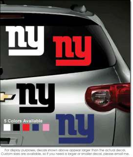 New York Giants Vinyl Window Decal/Bumper Sticker NFL