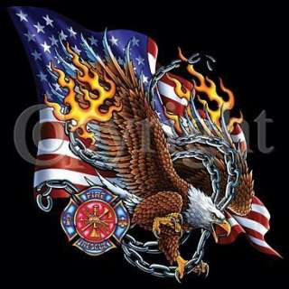 Firefighter T Shirt Eagle Flag & Chains