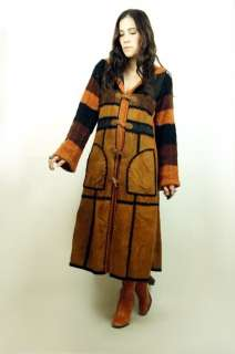 Vtg 70s SUEDE PATCHWORK Bell Slv Sweater Toggle HOODED Boho MAXI Coat