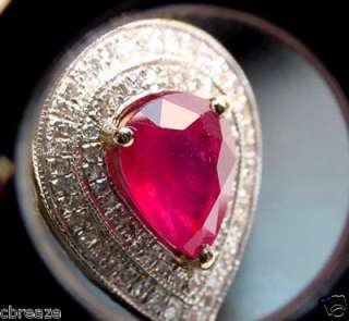 BLOOD RED NATURAL RUBY & PAVE DIAMONDS 14K GOLD RING