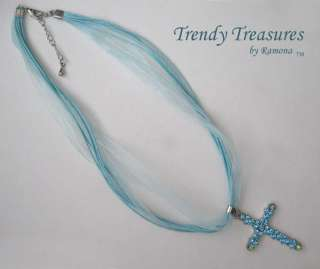 Blue Swarovski Rhinestones Cross Pendant Necklace