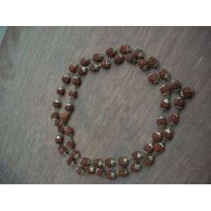 Mala of 108 + 1 Beads with Silver Caps with Rudraksha Bead Japa Mala