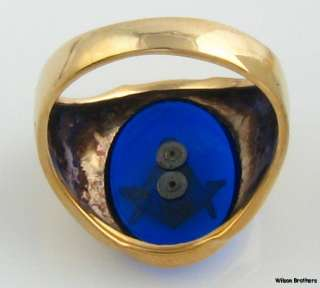 Masonic Syn Blue Spinel Blue Lodge Ring   10k Solid Yellow Gold Masons