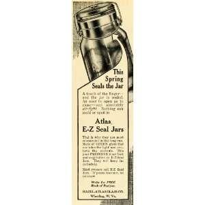1913 Ad Hazel Atlas Green Glass EZ Seal Jars Canning Food