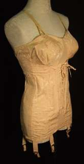 NEV R BULGE 40s Peach Corset Open bottom Girdle 38 Garter Vintage MINT