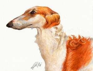 Original Oil DOG Portrait Painting Art BORZOI Artwork
