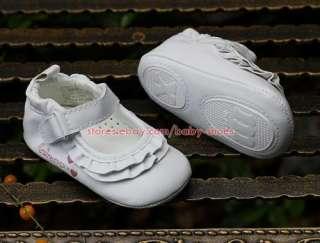 Baby Girl White Ruffled Dress Shoes Infant Crib Mary Jane Size 1 2 3