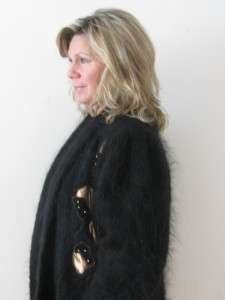 BLACK 70% MOHAIR FUZZY KNIT SWEATER LADIES COCOON GOLD STUD JACKET