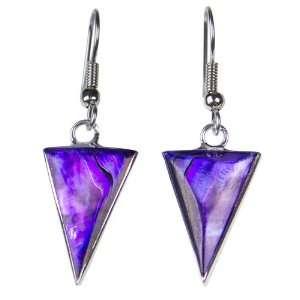 Purple Triangle Abalone Earrings Jewelry