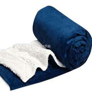 Queen Sherpa blanket super soft blue reversible Winter blankets