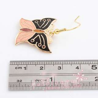 Pairs Fresh Super star Jewelry MIx Colors Cloisonne Butterfly