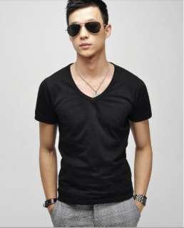 2012 Men slim fit v neck solids short t shirts summer tees tops 5