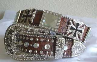 WESTERN BROWN CROC EMBOSSED HAIR CROSS CONCHO COWGIRL LEATHER BUCKLE