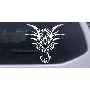 White 20in X 18.2in    Tribal Dragon Car Window Wall Laptop Decal