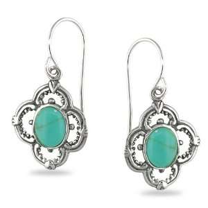 Silver Oval Cabochon Turquoise Gemstone Dangle Earrings Jewelry