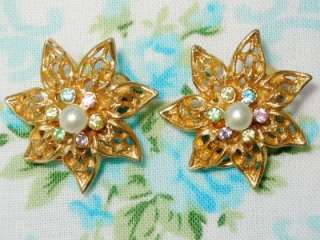 Vintage Jewelry Signed BSK Crystal Faux Pearl Gold Tone Flower Clip
