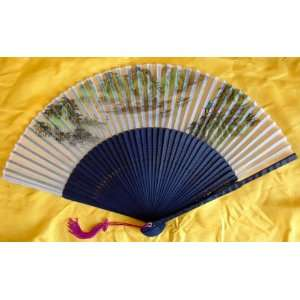 Chinese Art Painting Silk Bamboo Fan Landscape Everything