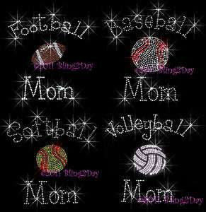 SPORTS MOM RHINESTONE IRON ON TRANSFER HOT BLING CURLY