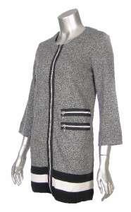 Sutton Studio Womens Black White 100% Cotton Zipper Front Tunic & Pant
