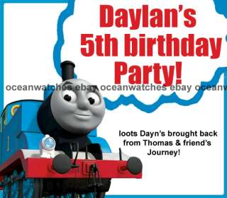 Thomas the train tank Candy Wrappers Birthday Party Invitations
