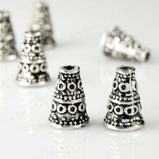 100Pcs Tibetan Silver Bali Style Bead End Caps TS0059