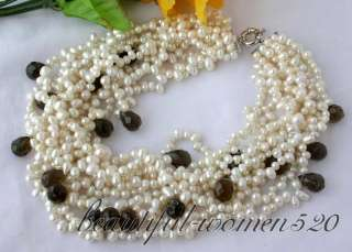 10row 8mm white freshwater pearl nature cairngorm drip necklace . I