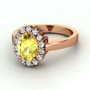 Penelope Ring, Oval Yellow Sapphire 14K Rose Gold Ring