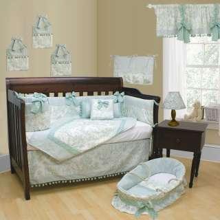 Toile Green Pom Pom 9PCS Baby / Toddler Nursery Bedding