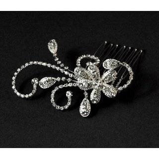 Bridal Side Comb Flower Swirls Sparkle Rhinestone Crystal Hair