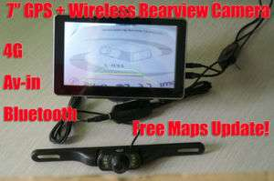 Car GPS + Wireless Rear Camera Bluetooth Av in FM 128RAM +8G Free Map