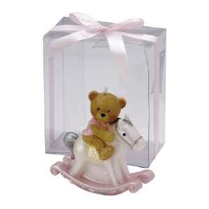 Pink Rocking Horse Candle In Clear Box (Set of 16