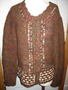 Carole Little Brown Long Sleeve Wool Blend Button Down Cardigan L