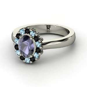 Princess Kate Ring, Oval Iolite 14K White Gold Ring with Black Onyx