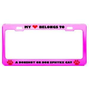 A Donskoy Or Don Sphynx Cat Pet Pink Metal License Plate