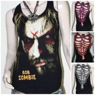 Rob Zombie Metal Rock DIY Skeleton Back Tank Top