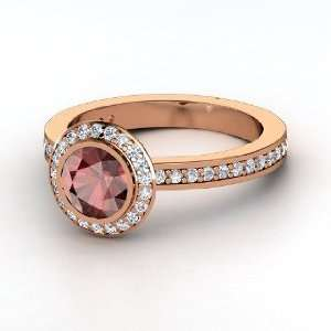 Roxanne Ring, Round Red Garnet 14K Rose Gold Ring with