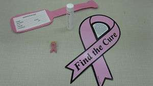 Pink Ribbon Magnet, Lapel Pin, Chapstick, + Luggage Tag