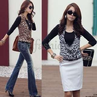 2PCS Black Long Sleeve Slim Blouse Shirts+Leopard Tunic Tank Tops Vest