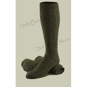 Wool Military Socks High Quality Very Warm Knee High Reenforced Green