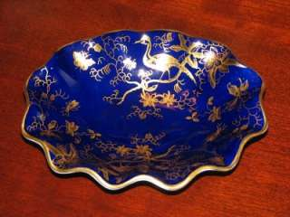 COALPORT COBALT BLUE BIRD OF PARADISE NUT DISH MINT