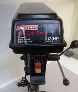 Craftsman 8 Drill Press 1/3 HP  1/2 Chk Table Top GUC