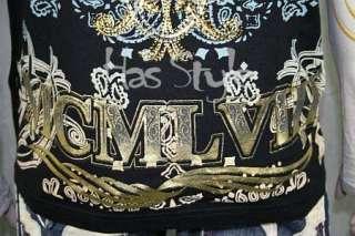 Christian Audigier Skull Roses T Shirt STONES Black