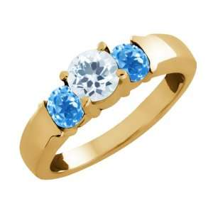 Round Sky Blue Aquamarine and Topaz Gold Plated Silver Ring Jewelry