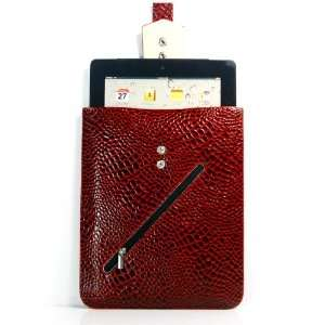Red / Crocodile pattern PU Leather Case / Sleeve / Cover / Bag / Skin