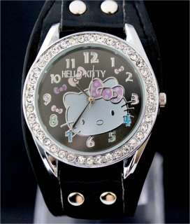 New Quality Black HelloKitty Women Lady Girl Wrist Watch, DK5 BK