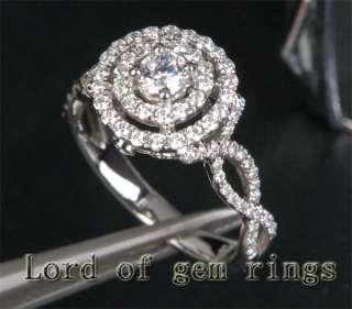07ct H/SI DIAMOND 14K WHITE GOLD PAVE ENGAGEMENT Wedding Halo